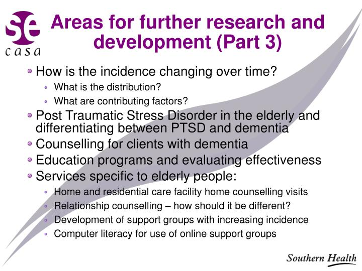 Areas for further research and development (Part 3)