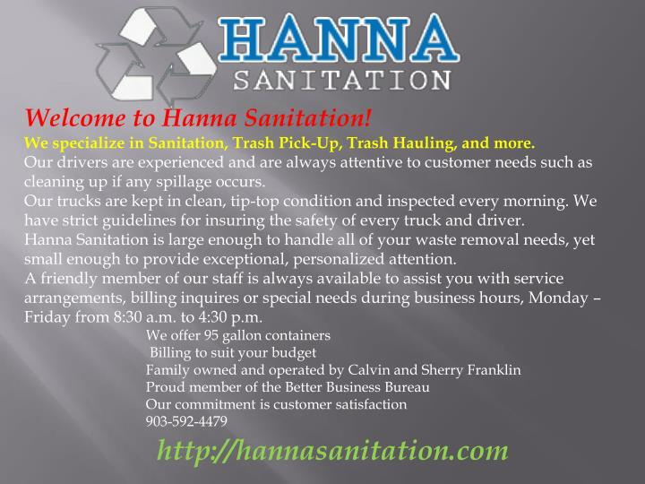Welcome to Hanna Sanitation!