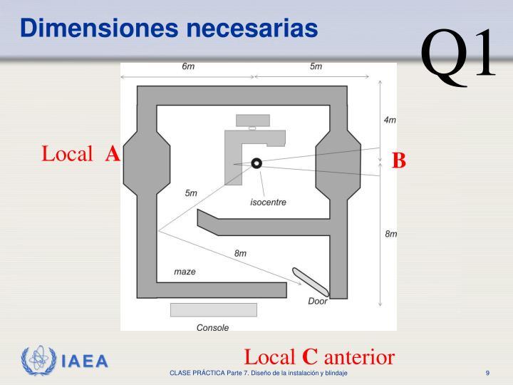 Dimensiones necesarias