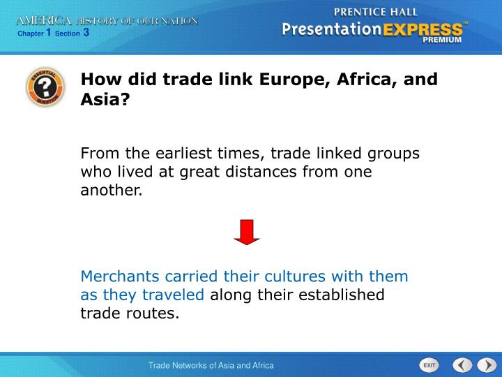 How did trade link Europe, Africa, and Asia?