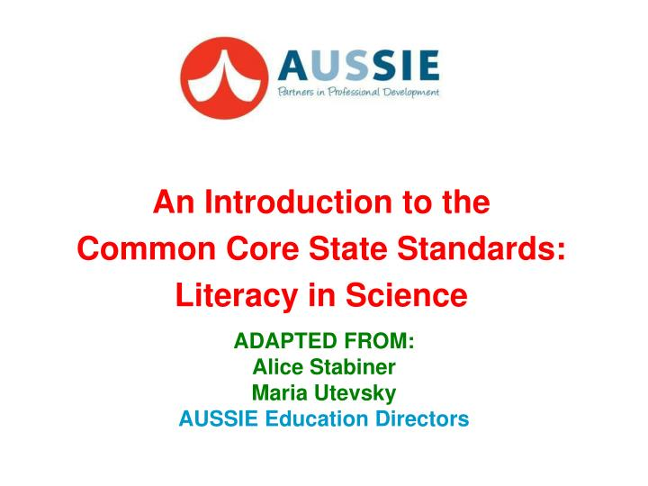 An introduction to the common core state standards literacy in science