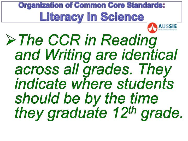 Organization of common core standards literacy in science1