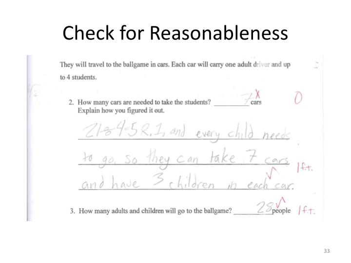 Check for Reasonableness