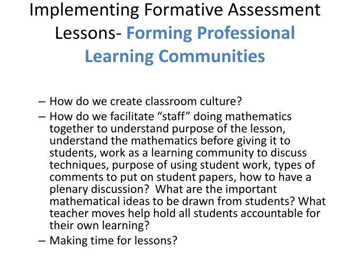 Implementing Formative Assessment Lessons-