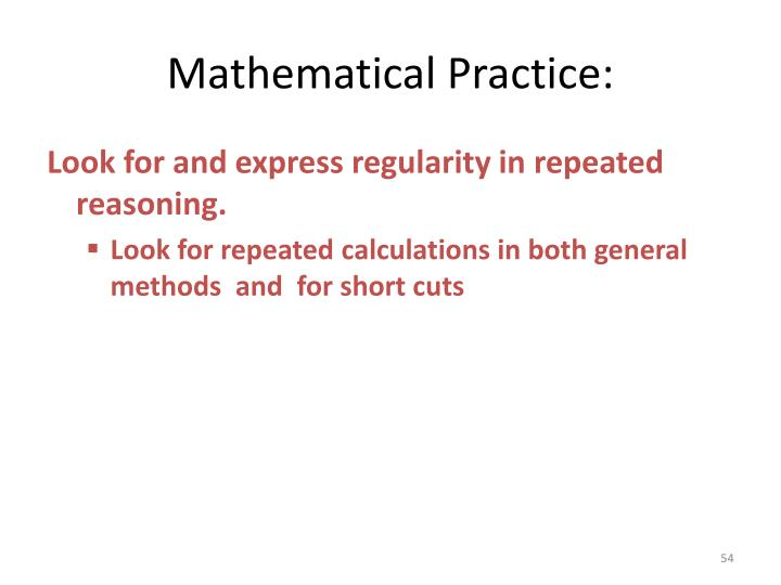 Mathematical Practice: