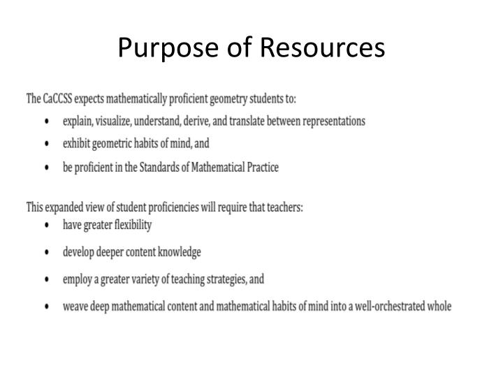 Purpose of Resources