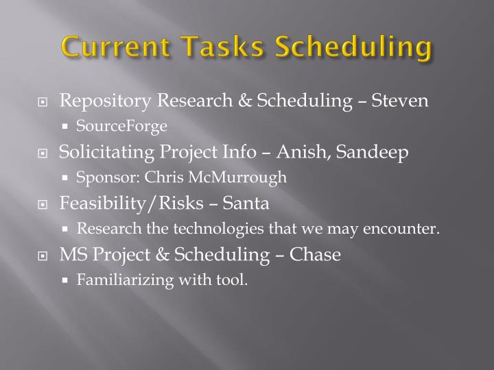 Current Tasks Scheduling