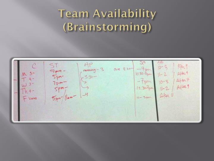 Team Availability (Brainstorming)