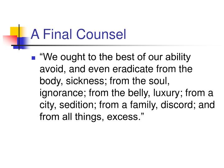 A Final Counsel