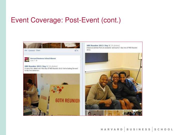 Event Coverage: Post-Event (cont.)