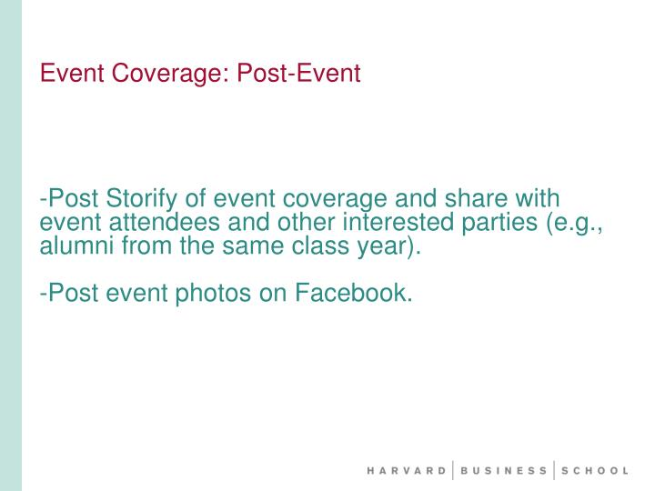 Event Coverage: Post-Event