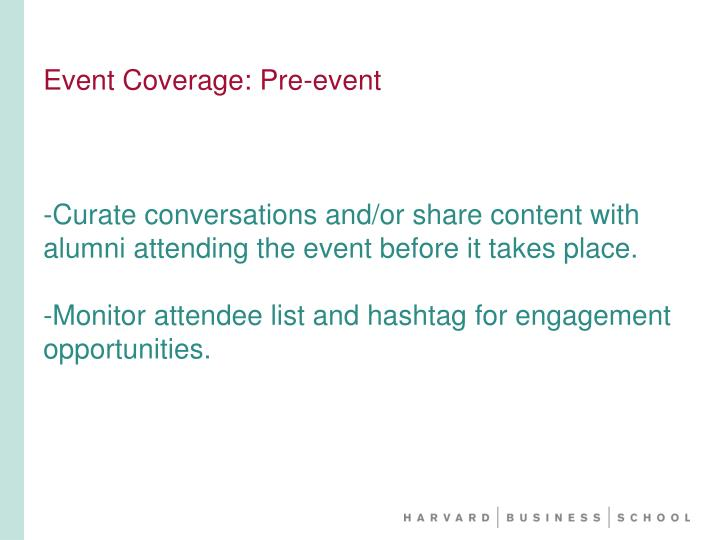 Event Coverage: Pre-event