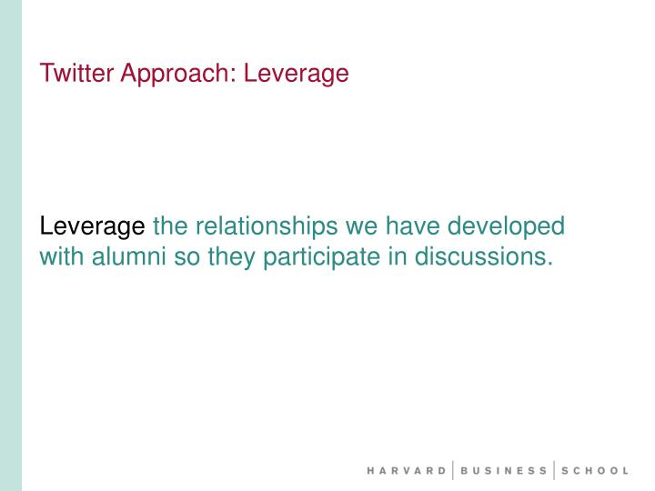 Twitter Approach: Leverage
