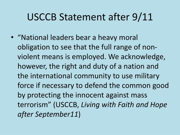 USCCB Statement after 9/11