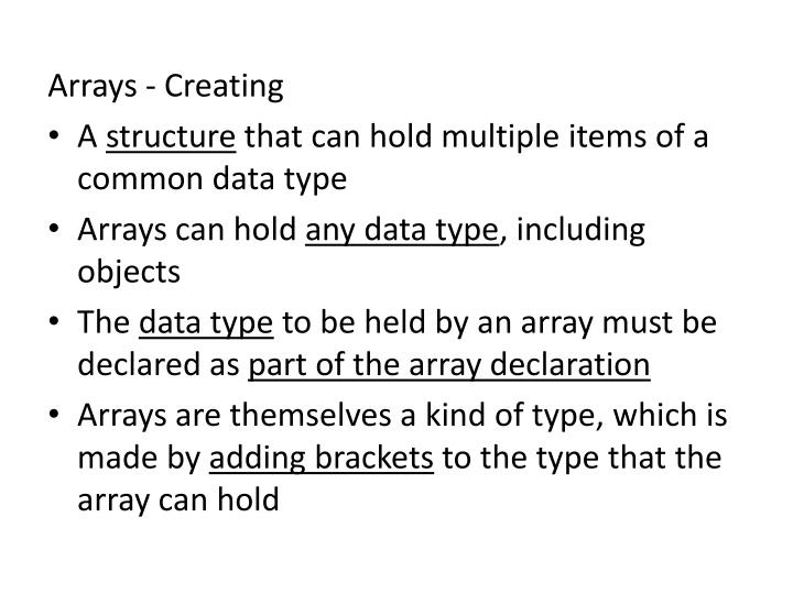 Arrays - Creating