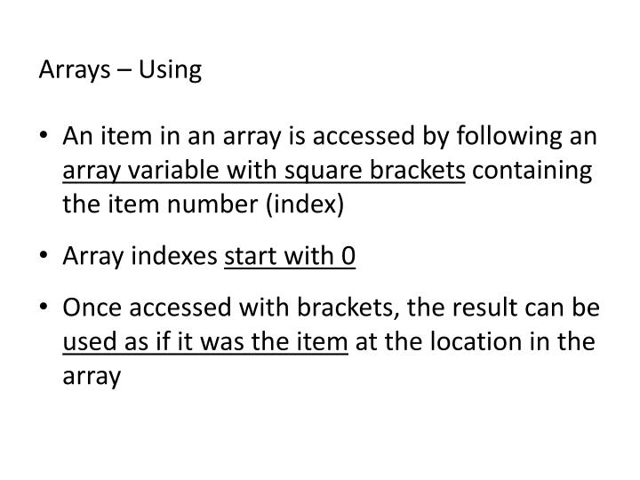 Arrays – Using