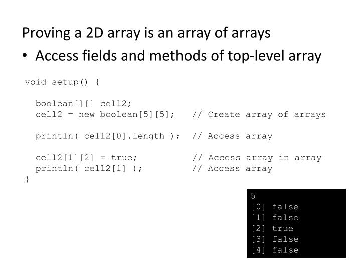 Proving a 2D array is an array of arrays