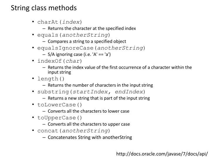 String class methods