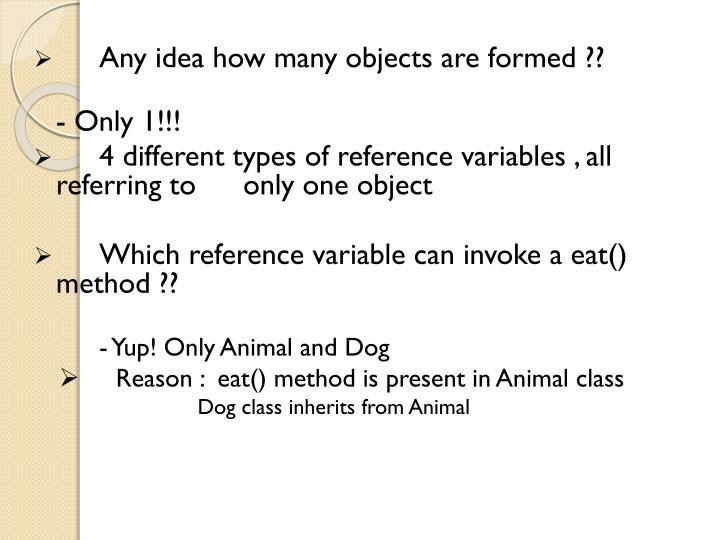 Any idea how many objects are formed ??