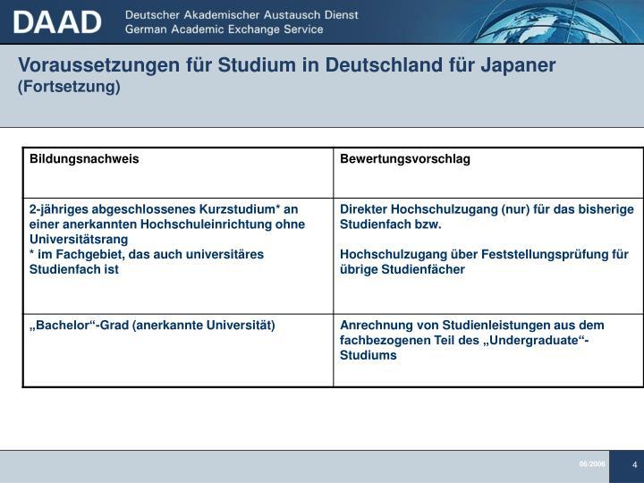 Voraussetzungen für Studium in Deutschland für Japaner