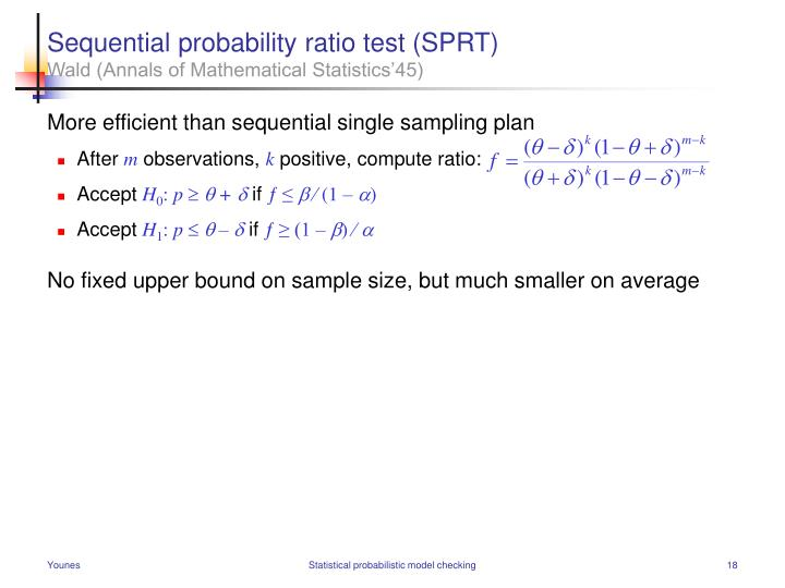 Sequential probability ratio test (SPRT)