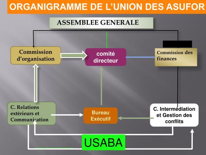 ORGANIGRAMME DE L'UNION DES ASUFOR