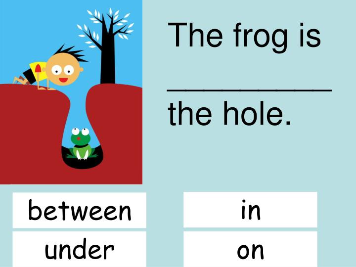 The frog is _________ the hole.