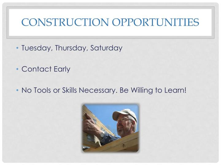 Construction Opportunities