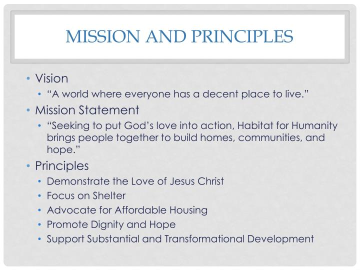 Mission and principles