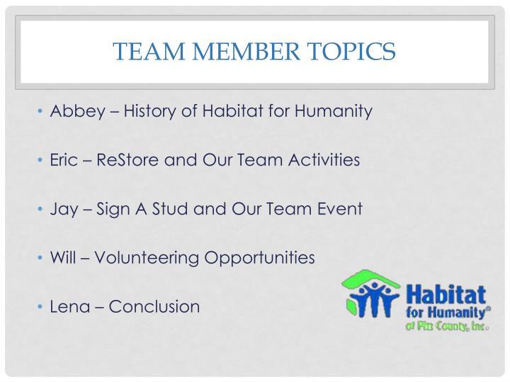 Team member Topics