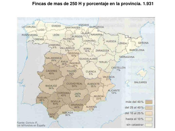Fincas de mas de 250 H y porcentaje en la provincia. 1.931