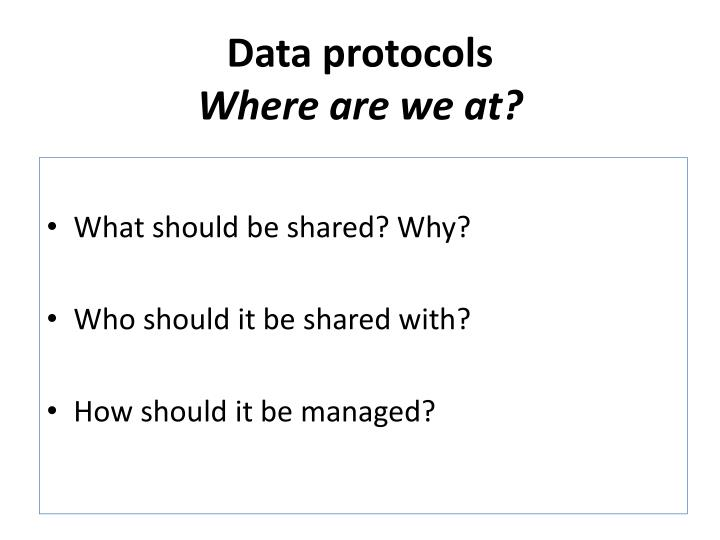 Data protocols