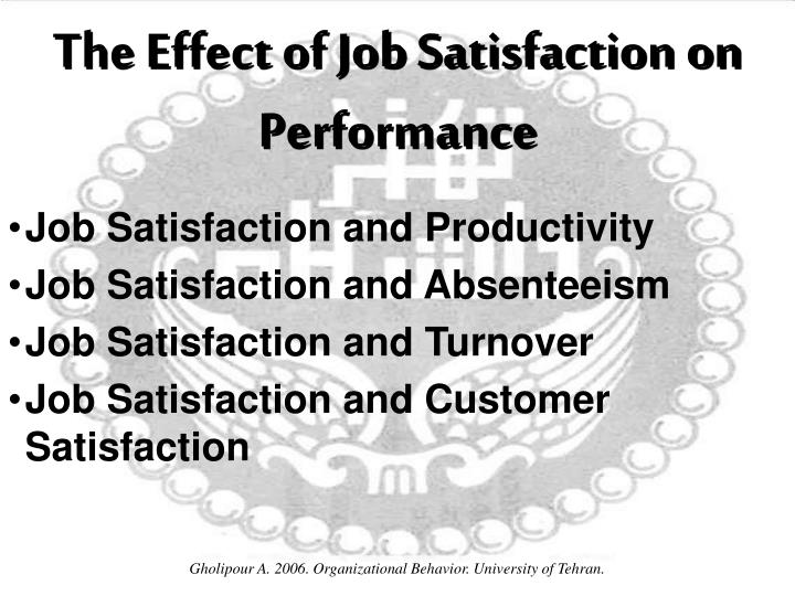 effect of organisational support on job satisfaction Just as pos does not always positively correlate with performance, neither does  job satisfaction although pos probably.