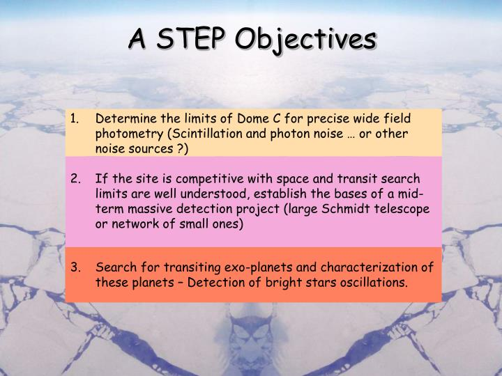 A STEP Objectives
