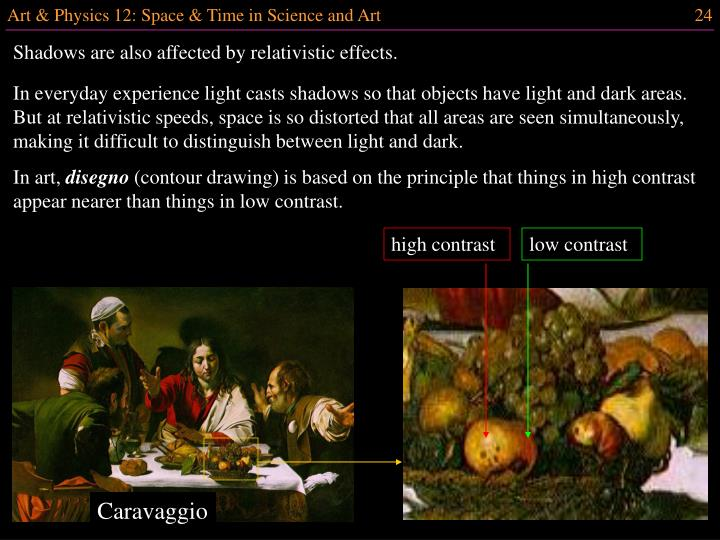 Shadows are also affected by relativistic effects.