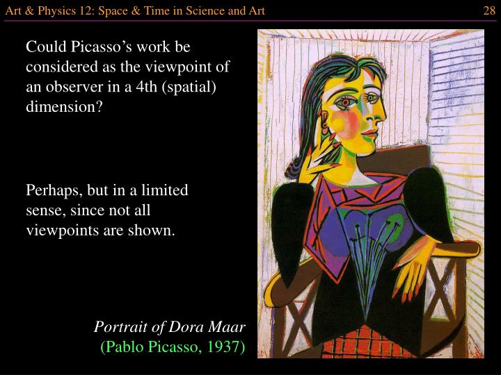 Could Picasso's work be considered as the viewpoint of an observer in a 4th (spatial) dimension?