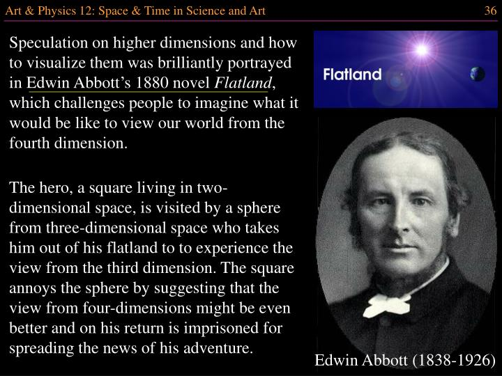 Speculation on higher dimensions and how to visualize them was brilliantly portrayed in Edwin Abbott's 1880 novel