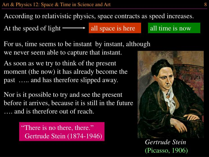 According to relativistic physics, space contracts as speed increases.