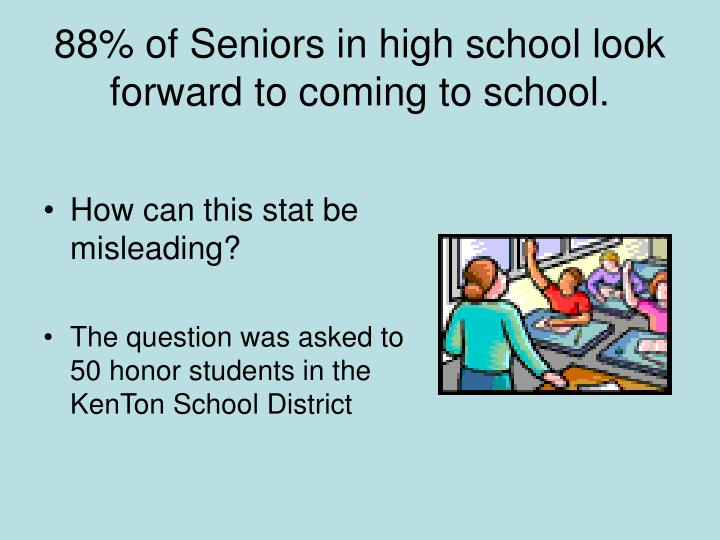 88% of Seniors in high school look forward to coming to school.