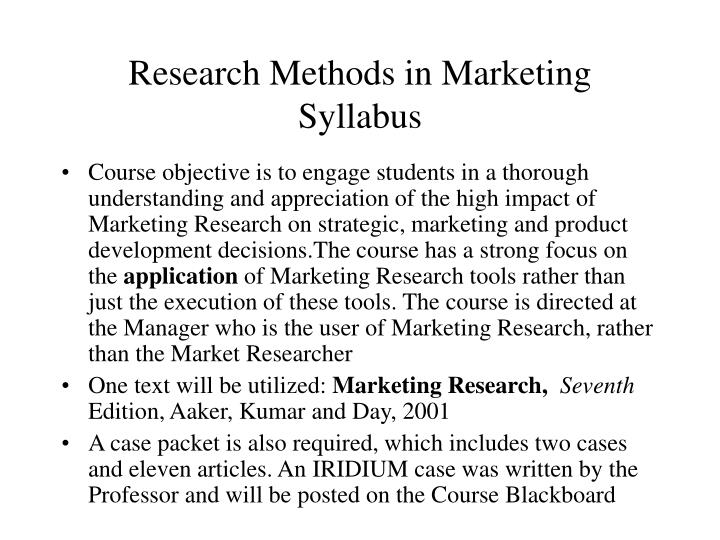 Research methods in marketing syllabus