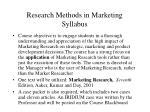 research methods in marketing syllabus