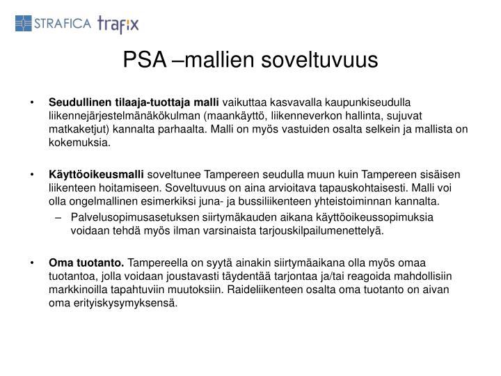 PSA –mallien soveltuvuus