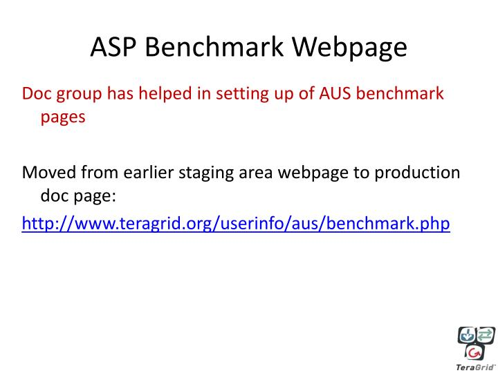 ASP Benchmark Webpage