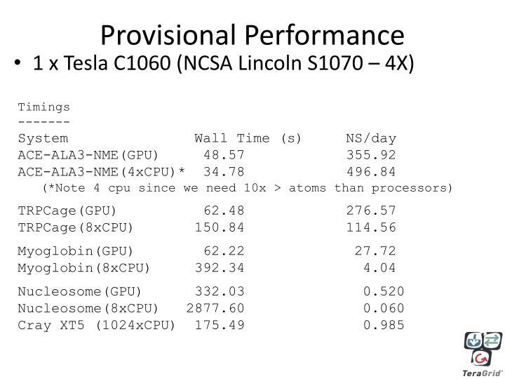 Provisional Performance