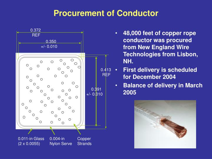 Procurement of conductor