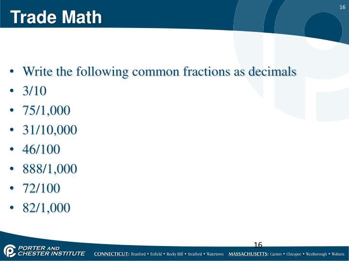 Trade Math