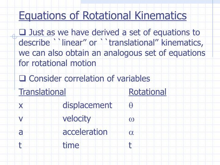 Equations of Rotational Kinematics