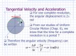 tangential velocity and acceleration