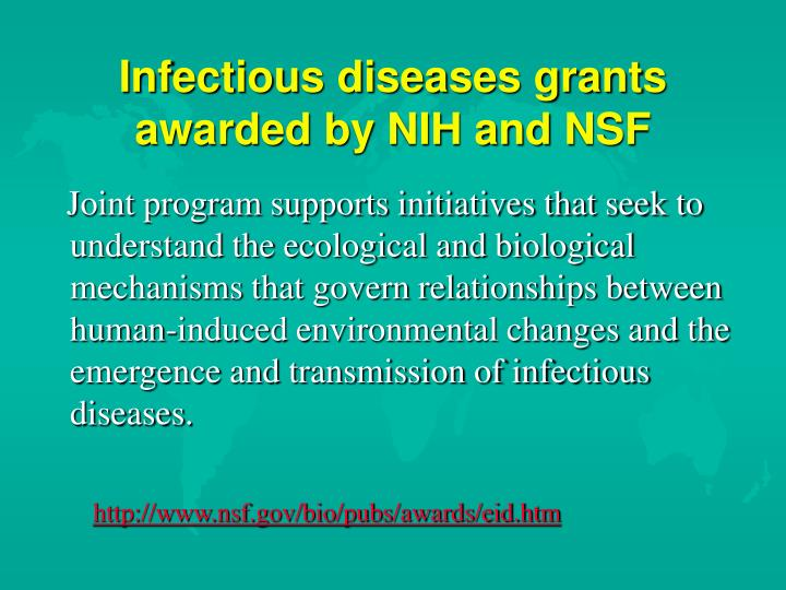 Infectious diseases grants awarded by NIH and NSF