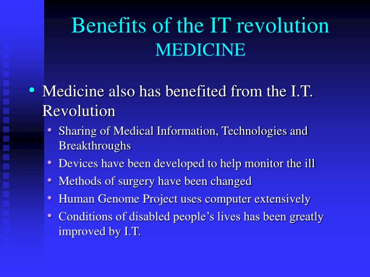 Benefits of the IT revolution